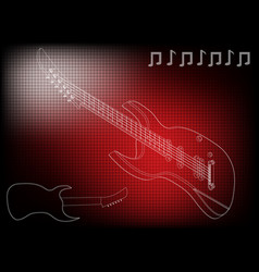 guitar on a red vector image