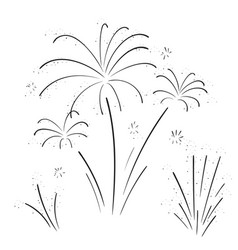 hand drawn set of fireworks vector image