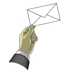 Hand holding envelope vector