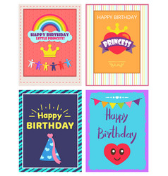 happy birthday princess poster vector image