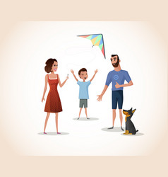 happy boy spending time with parents vector image