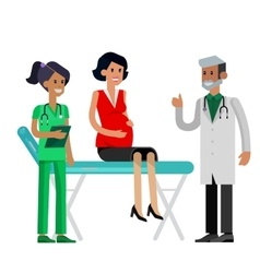Happy pregnant woman having a doctor visit vector image