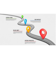 highway winding empty road gps pins and vector image