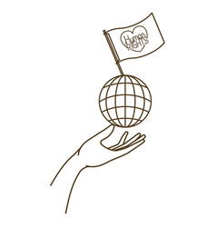 Human rights on flag and earth globe vector