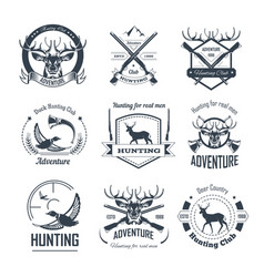 Hunting club icons hunt adventure hunter gun rifle vector