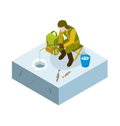 ice fishing isometric man on ice fishing vector image