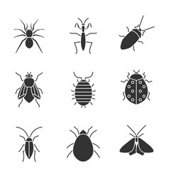 Insects glyph icons set vector