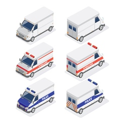 Isometric Vans Set with Ambulance and Police Car vector