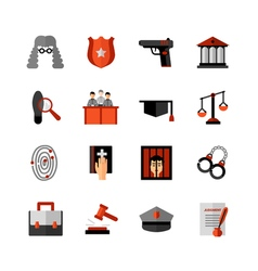Legal Law Flat Icons Set vector
