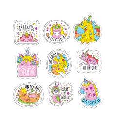 Lovely unicorn patches set trendy colorful vector