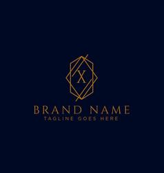 Luxury logotype premium letter x logo with golden vector