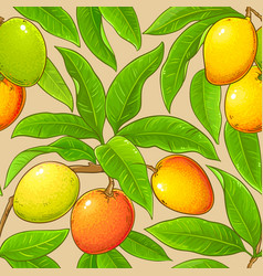 Mango branches pattern on color background vector