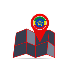 Map ethiopia is isolated country flag vector