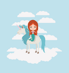 Mermaid with unicorn in the clouds vector