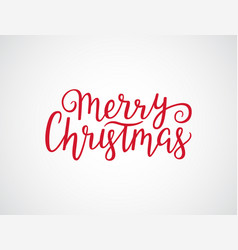 Merry christmas hand drawn lettering red xmas vector