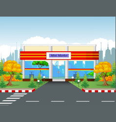 Minimarket building with town background vector