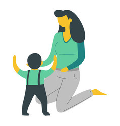 Mother and son isolated characters woman and baby vector