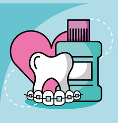 Mouthwash tooth and orthodontics dentistry love vector
