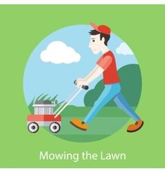 Mowing lawn vector