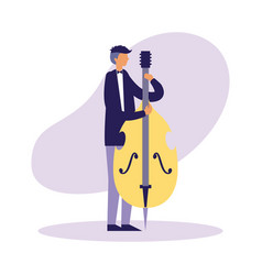 musician man playing cello instrument vector image