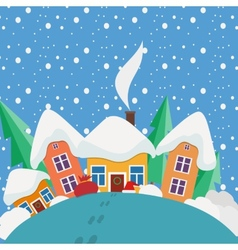 New Year and Christmas landscape in the day in vector image