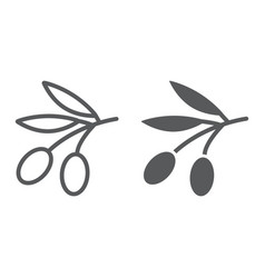 Olives line and glyph icon vegetable vector