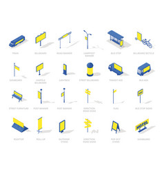 out-of-home outdoor advertising isometric icons vector image