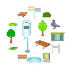 Park icons set cartoon style vector