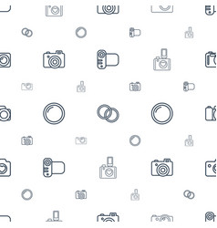 Photographic icons pattern seamless white vector