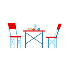 Picnic place red chairs and served table vector