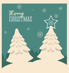 Pine tree merry christmas design vector