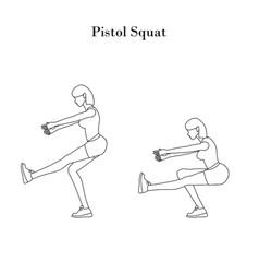 Pistol squat exercise outline vector