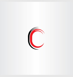 red black letter c sign symbol vector image vector image