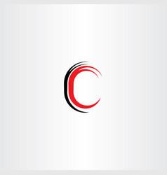 red black letter c sign symbol vector image