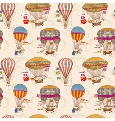 Retro air hot balloons seamless childrens vector