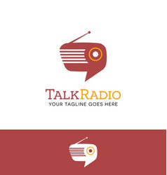 Retro radio shaped talk bubble logo vector