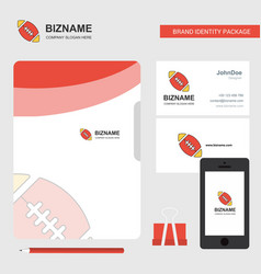 rugby ball business logo file cover visiting card vector image