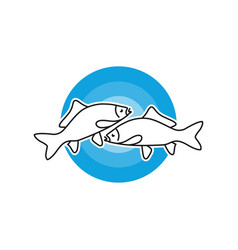 sea fish outline modern logo vector image