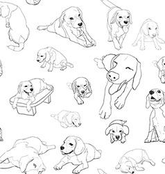 seamless pattern background beagle set vector image