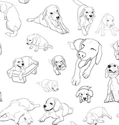 Seamless pattern background of beagle set vector