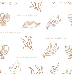 seamless pattern with corals and seaweeds vector image