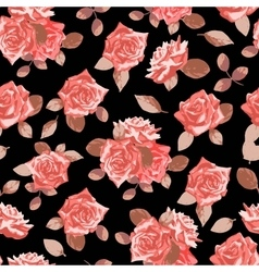 Seamless pattern with hand drawn roses vector image