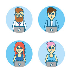 Set businesspeople with laptop and hairstyle vector