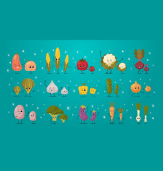 set cute mascot vegetables characters funny vector image