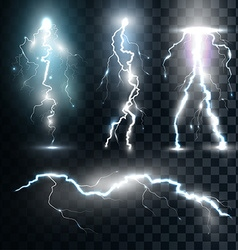 Set isolated realistic lightnings with vector image