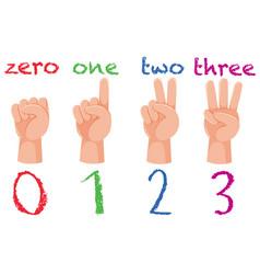 Set of hand number gesture vector