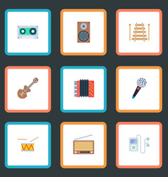 Set of melody icons flat style symbols with vector