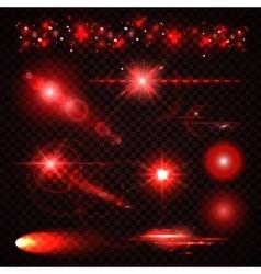 Set of red Light effects spotlights flash stars vector
