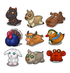 set soft toys from different birds and animals vector image