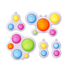 Simple dimple anti-stress toys with fidget sensory vector